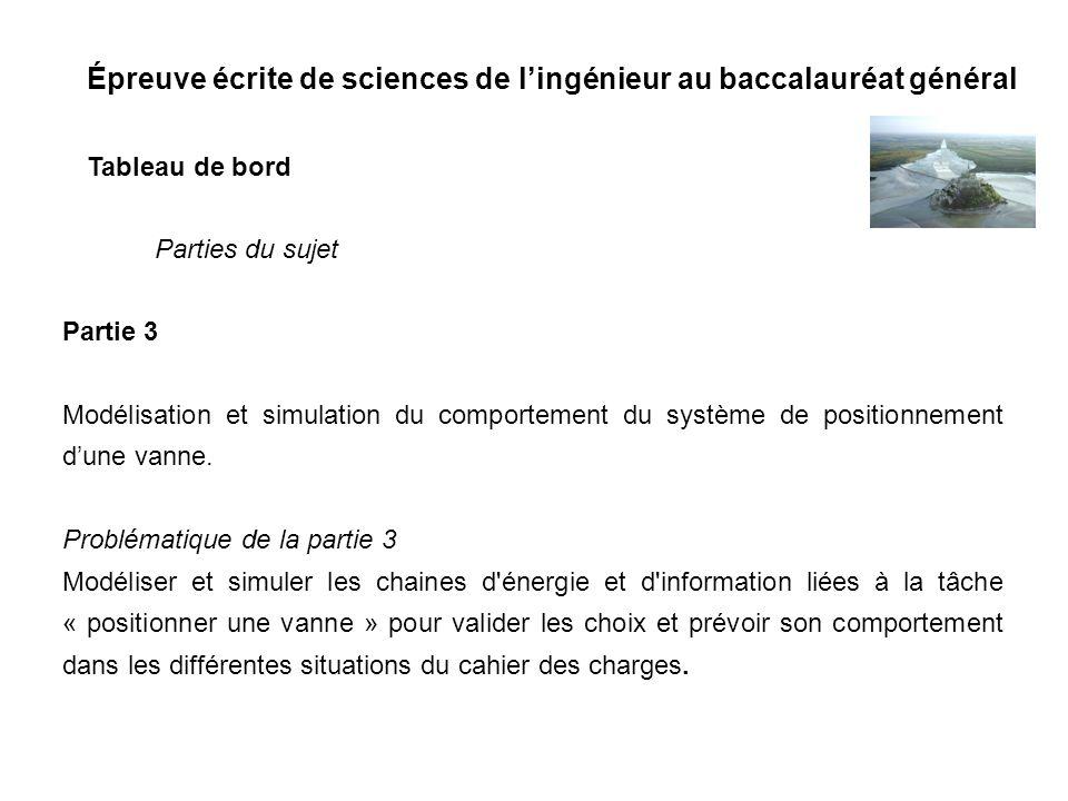 Épreuve écrite de sciences de lingénieur au baccalauréat général Tableau de bord Partie 3 Modélisation et simulation du comportement du système de pos