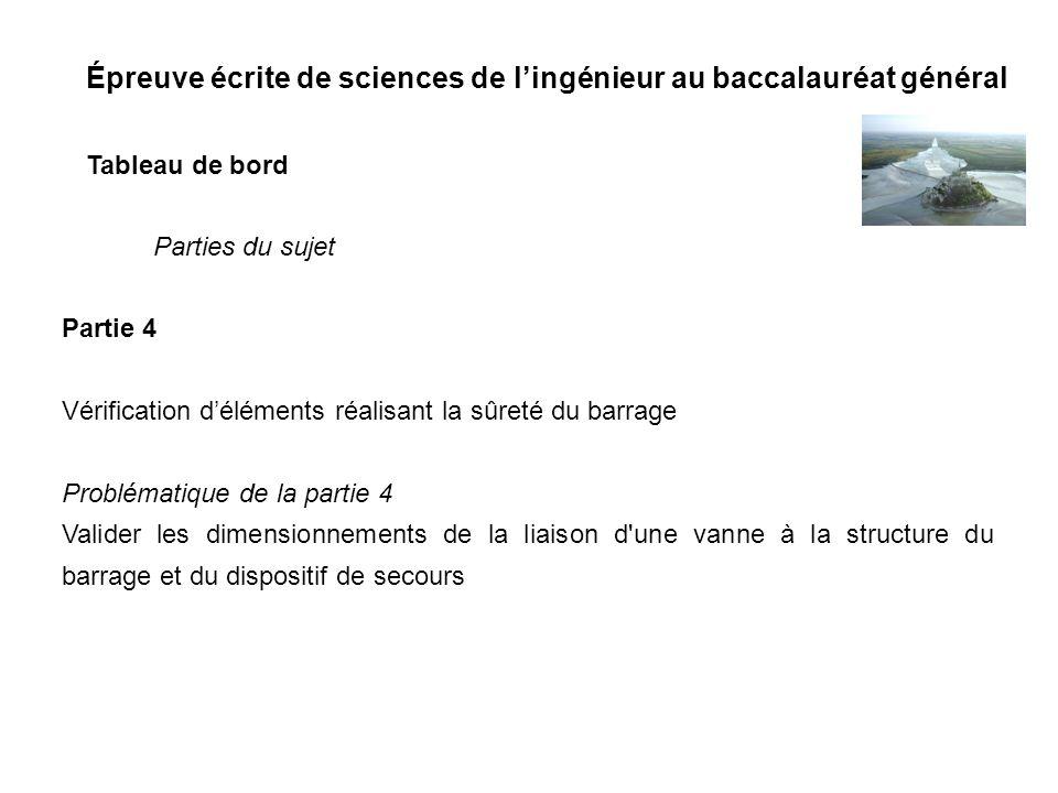 Épreuve écrite de sciences de lingénieur au baccalauréat général Tableau de bord Partie 4 Vérification déléments réalisant la sûreté du barrage Problé
