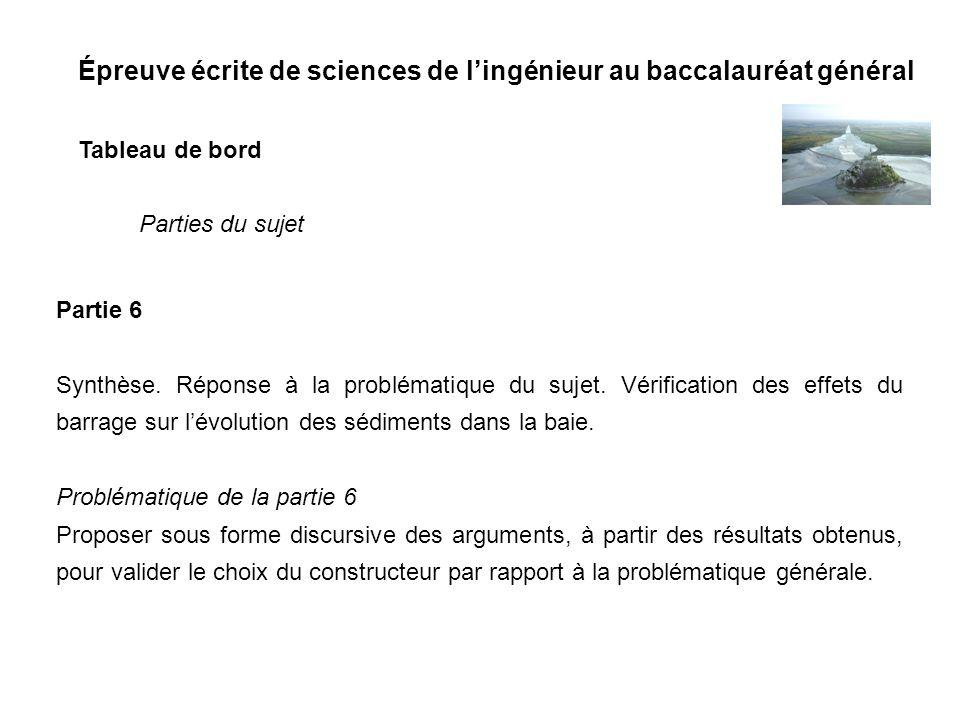 Épreuve écrite de sciences de lingénieur au baccalauréat général Tableau de bord Partie 6 Synthèse. Réponse à la problématique du sujet. Vérification
