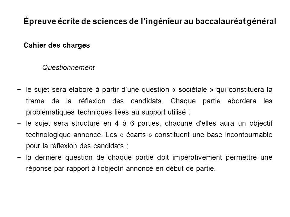 Épreuve écrite de sciences de lingénieur au baccalauréat général Tableau de bord Partie 6 Synthèse.