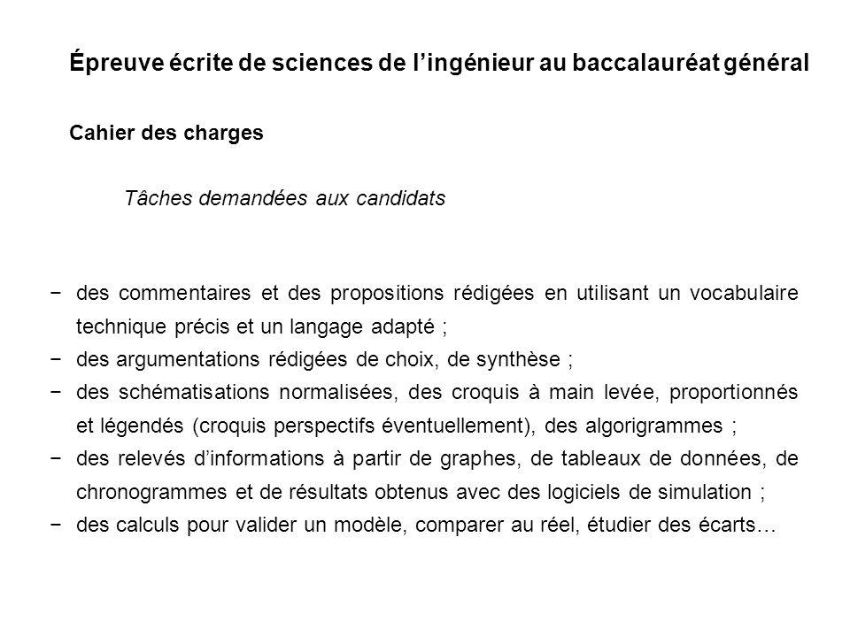 Épreuve écrite de sciences de lingénieur au baccalauréat général Cahier des charges des commentaires et des propositions rédigées en utilisant un voca