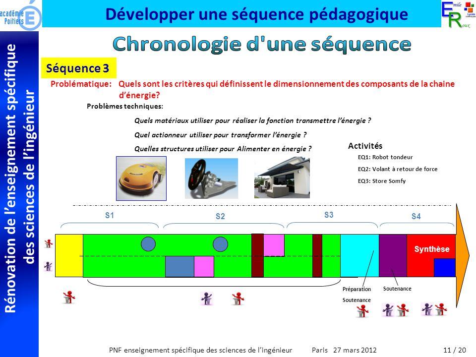 Rénovation de lenseignement spécifique des sciences de lingénieur PNF enseignement spécifique des sciences de lingénieur Paris 27 mars 2012 Développer une séquence pédagogique Séquence 3 Activités EQ1: Robot tondeur EQ2: Volant à retour de force EQ3: Store Somfy Problématique: Quels sont les critères qui définissent le dimensionnement des composants de la chaine dénergie.