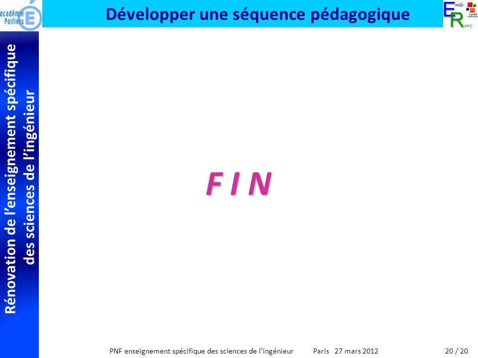 Rénovation de lenseignement spécifique des sciences de lingénieur PNF enseignement spécifique des sciences de lingénieur Paris 27 mars 2012 Développer une séquence pédagogique F I N 20 / 20