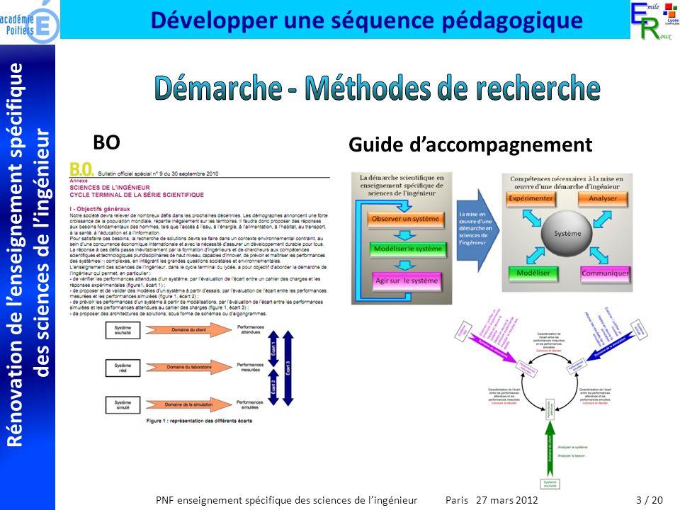 Rénovation de lenseignement spécifique des sciences de lingénieur PNF enseignement spécifique des sciences de lingénieur Paris 27 mars 2012 Développer une séquence pédagogique BO Guide daccompagnement 3 / 20