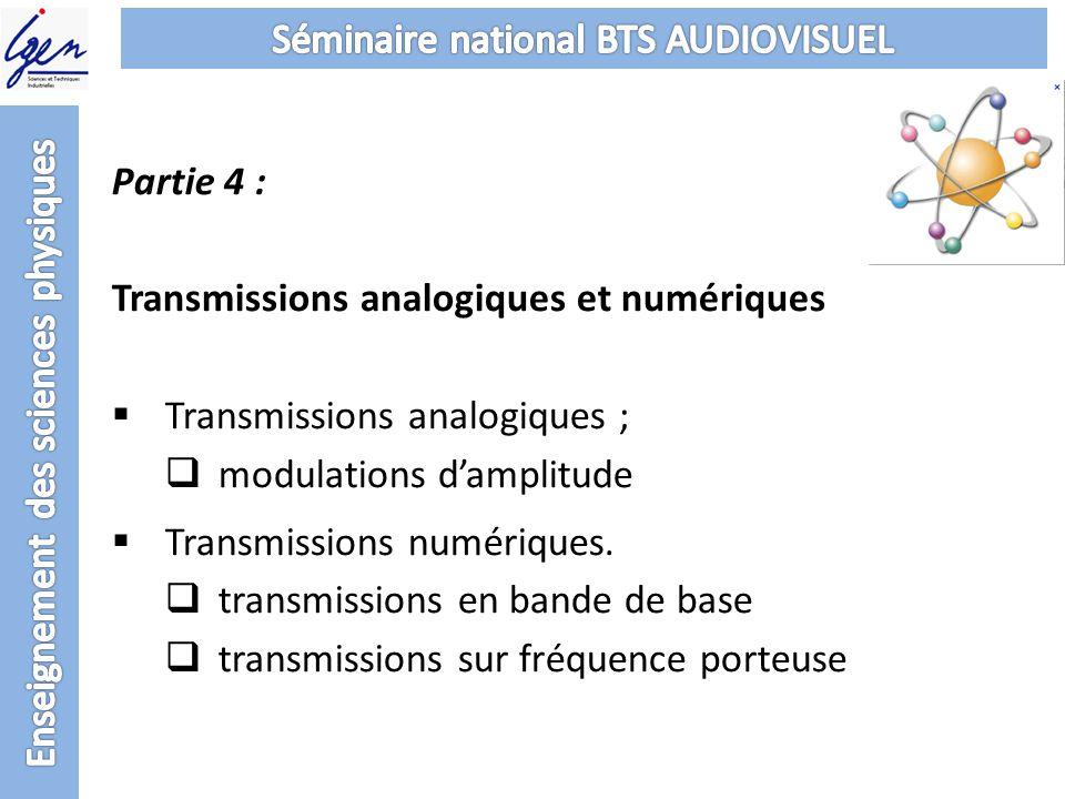 Partie 4 : Transmissions analogiques et numériques Transmissions analogiques ; modulations damplitude Transmissions numériques. transmissions en bande
