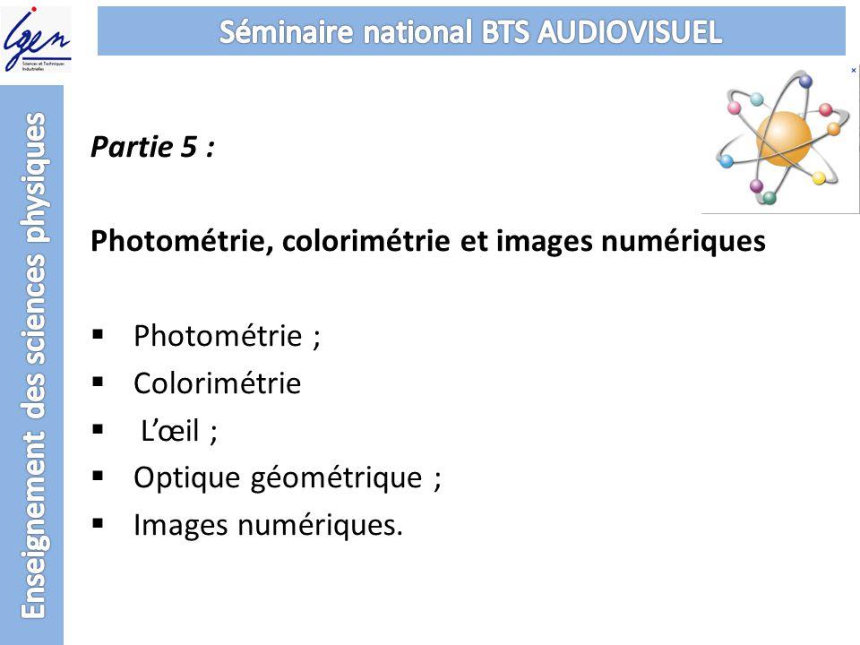 Partie 5 : Photométrie, colorimétrie et images numériques Photométrie ; Colorimétrie Lœil ; Optique géométrique ; Images numériques.