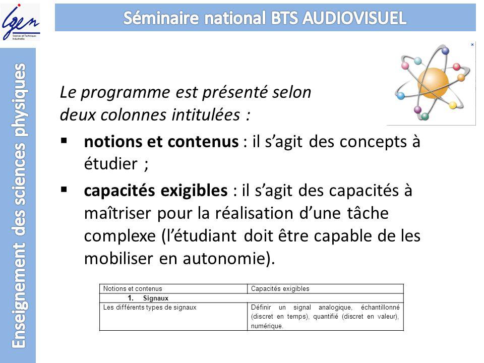 Le programme est présenté selon deux colonnes intitulées : notions et contenus : il sagit des concepts à étudier ; capacités exigibles : il sagit des