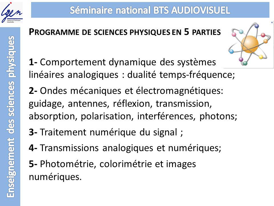 P ROGRAMME DE SCIENCES PHYSIQUES EN 5 PARTIES 1- Comportement dynamique des systèmes linéaires analogiques : dualité temps-fréquence; 2- Ondes mécaniq