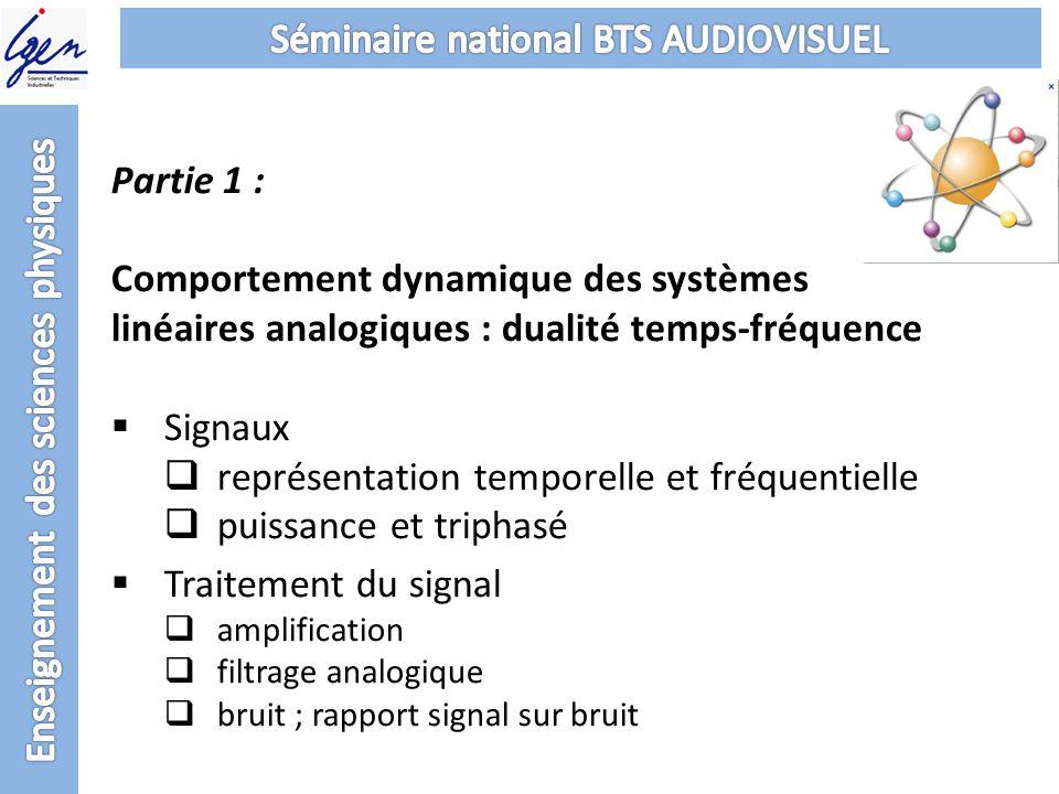 Partie 1 : Comportement dynamique des systèmes linéaires analogiques : dualité temps-fréquence Signaux représentation temporelle et fréquentielle puis