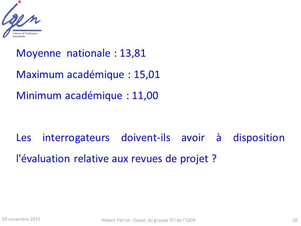19 novembre 2013 Nobert Perrot - Doyen du groupe STI de l'IGEN26 Moyenne nationale : 13,81 Maximum académique : 15,01 Minimum académique : 11,00 Les i