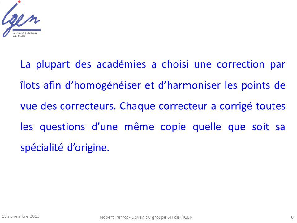 19 novembre 2013 Nobert Perrot - Doyen du groupe STI de l'IGEN6 La plupart des académies a choisi une correction par îlots afin dhomogénéiser et dharm