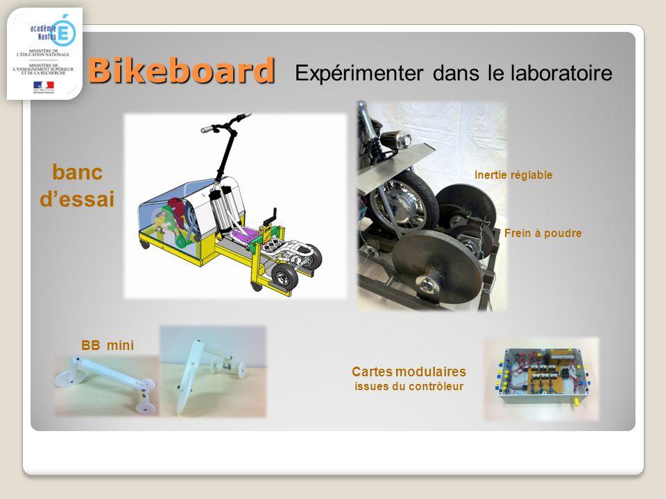 Bikeboard banc dessai Expérimenter dans le laboratoire Cartes modulaires issues du contrôleur BB mini Frein à poudre Inertie réglable
