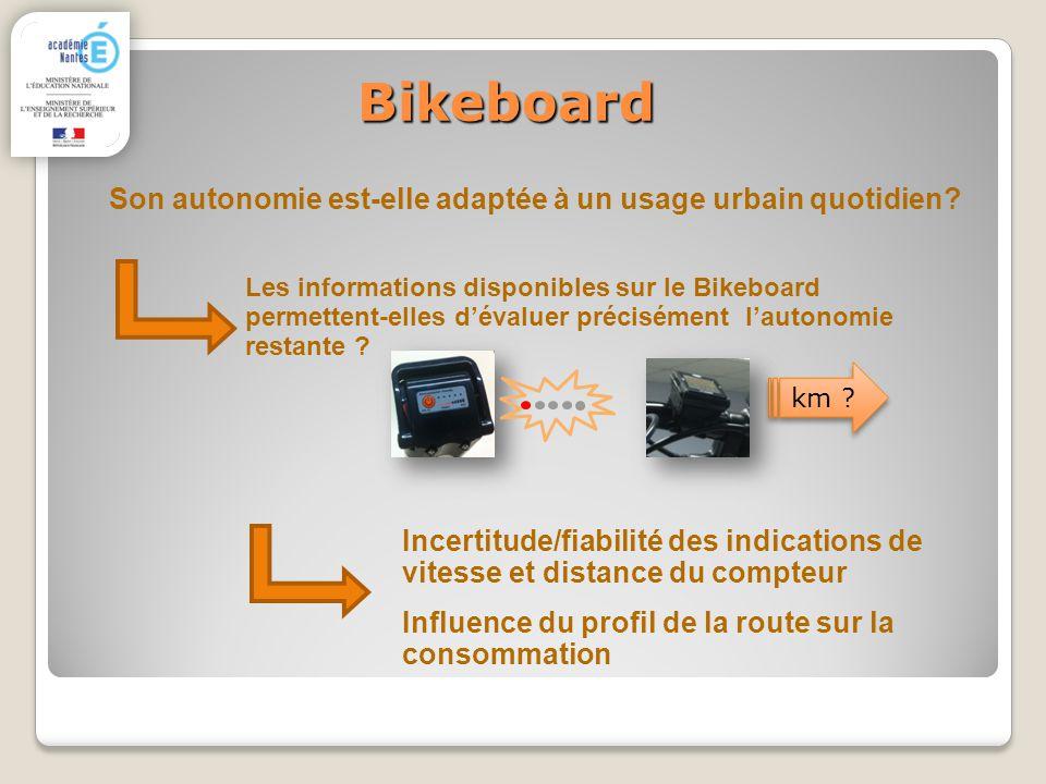 Bikeboard Les informations disponibles sur le Bikeboard permettent-elles dévaluer précisément lautonomie restante ? Son autonomie est-elle adaptée à u