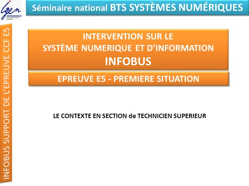 Eléments de constat Séminaire national BTS SYSTÈMES NUMÉRIQUES INTERVENTION SUR LE SYSTÈME NUMERIQUE ET DINFORMATION INFOBUS FIN