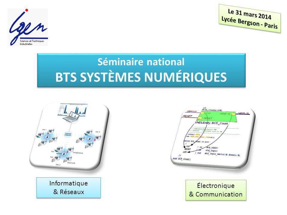 Séminaire national BTS SYSTÈMES NUMÉRIQUES Séminaire national BTS SYSTÈMES NUMÉRIQUES Informatique & Réseaux Informatique & Réseaux Électronique & Com