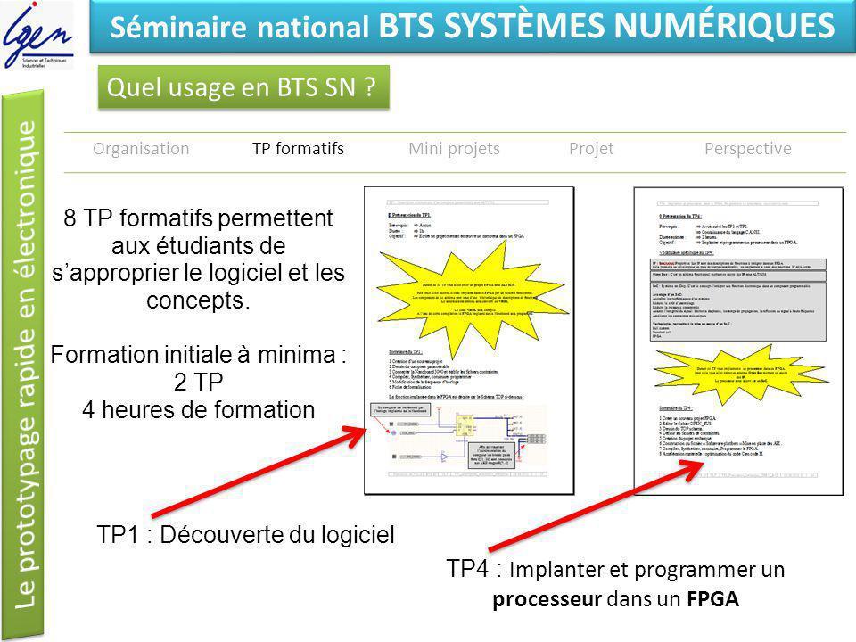 Eléments de constat Séminaire national BTS SYSTÈMES NUMÉRIQUES Quel usage en BTS SN ? OrganisationTP formatifsMini projetsProjetPerspective 8 TP forma