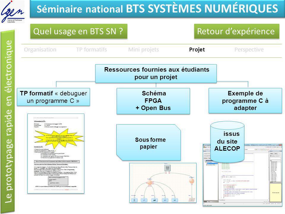 Eléments de constat Séminaire national BTS SYSTÈMES NUMÉRIQUES Quel usage en BTS SN ? OrganisationTP formatifsMini projetsProjetPerspective Sous forme