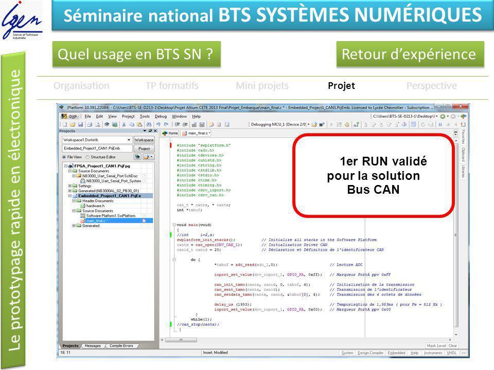 Eléments de constat Séminaire national BTS SYSTÈMES NUMÉRIQUES Quel usage en BTS SN ? OrganisationTP formatifsMini projetsProjetPerspective 1er RUN va