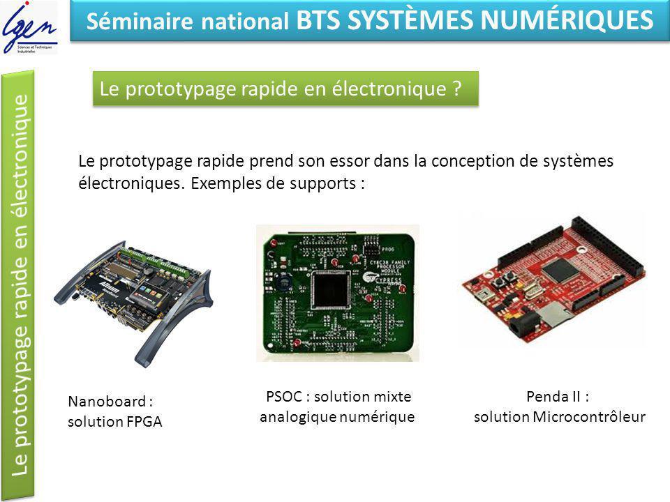 Eléments de constat Séminaire national BTS SYSTÈMES NUMÉRIQUES Le prototypage rapide prend son essor dans la conception de systèmes électroniques. Exe