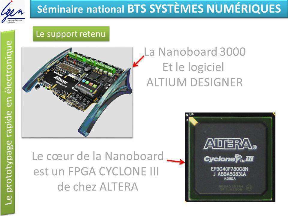 Eléments de constat Séminaire national BTS SYSTÈMES NUMÉRIQUES Le support retenu Le cœur de la Nanoboard est un FPGA CYCLONE III de chez ALTERA La Nan