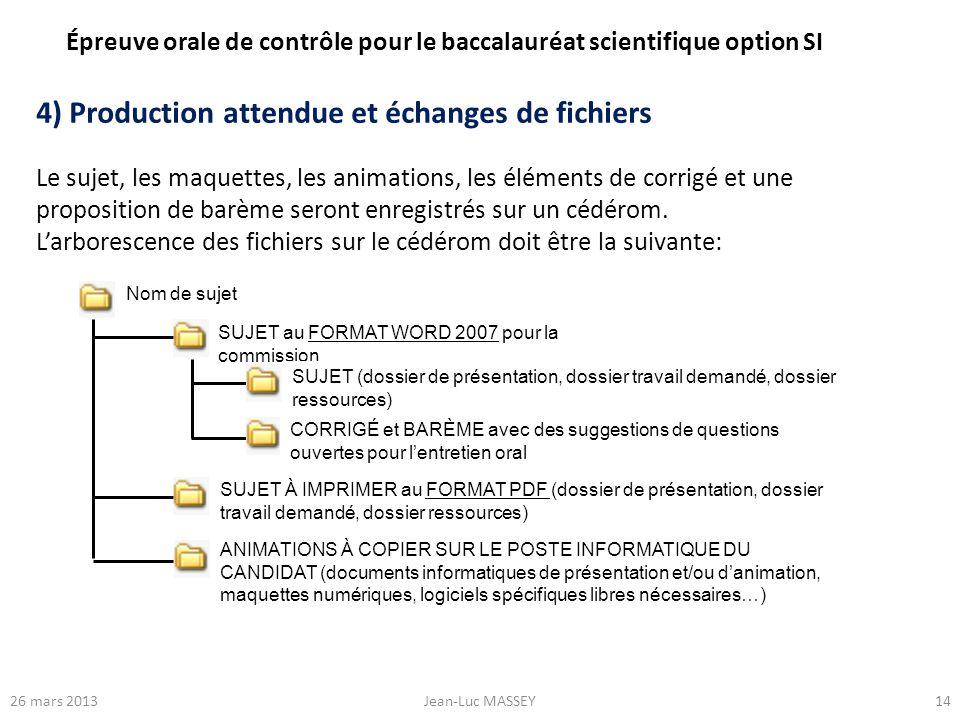 1426 mars 2013Jean-Luc MASSEY 4) Production attendue et échanges de fichiers Le sujet, les maquettes, les animations, les éléments de corrigé et une p