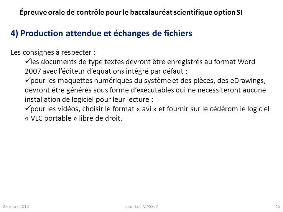 1526 mars 2013Jean-Luc MASSEY 4) Production attendue et échanges de fichiers Les consignes à respecter : les documents de type textes devront être enr