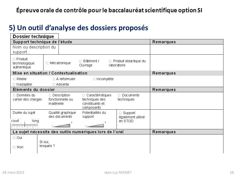 1626 mars 2013Jean-Luc MASSEY 5) Un outil danalyse des dossiers proposés Épreuve orale de contrôle pour le baccalauréat scientifique option SI