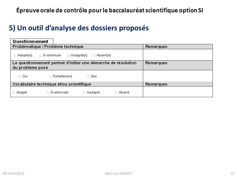 1726 mars 2013Jean-Luc MASSEY 5) Un outil danalyse des dossiers proposés Épreuve orale de contrôle pour le baccalauréat scientifique option SI
