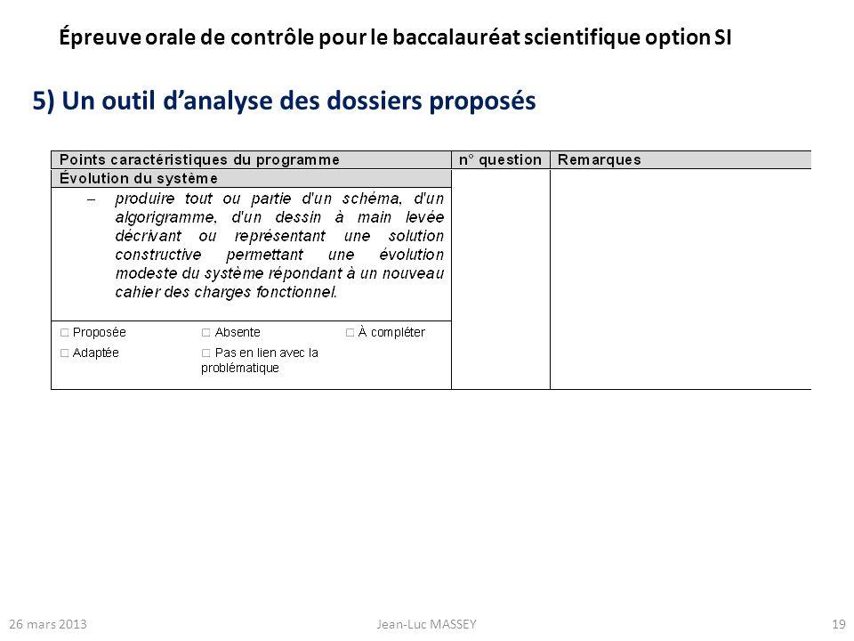 1926 mars 2013Jean-Luc MASSEY 5) Un outil danalyse des dossiers proposés Épreuve orale de contrôle pour le baccalauréat scientifique option SI