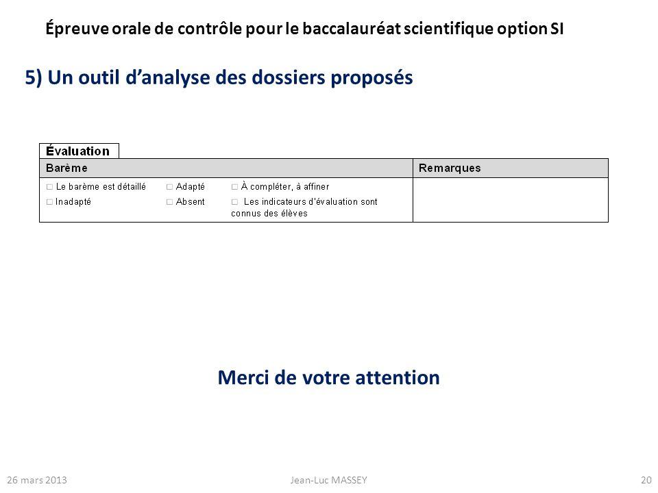 2026 mars 2013Jean-Luc MASSEY 5) Un outil danalyse des dossiers proposés Épreuve orale de contrôle pour le baccalauréat scientifique option SI Merci d