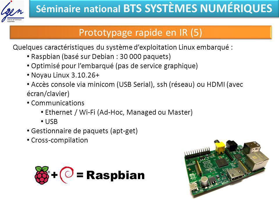 Séminaire national BTS SYSTÈMES NUMÉRIQUES Prototypage rapide en IR (5) Quelques caractéristiques du système dexploitation Linux embarqué : Raspbian (