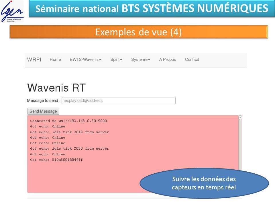 Séminaire national BTS SYSTÈMES NUMÉRIQUES Exemples de vue (4) Suivre les données des capteurs en temps réel