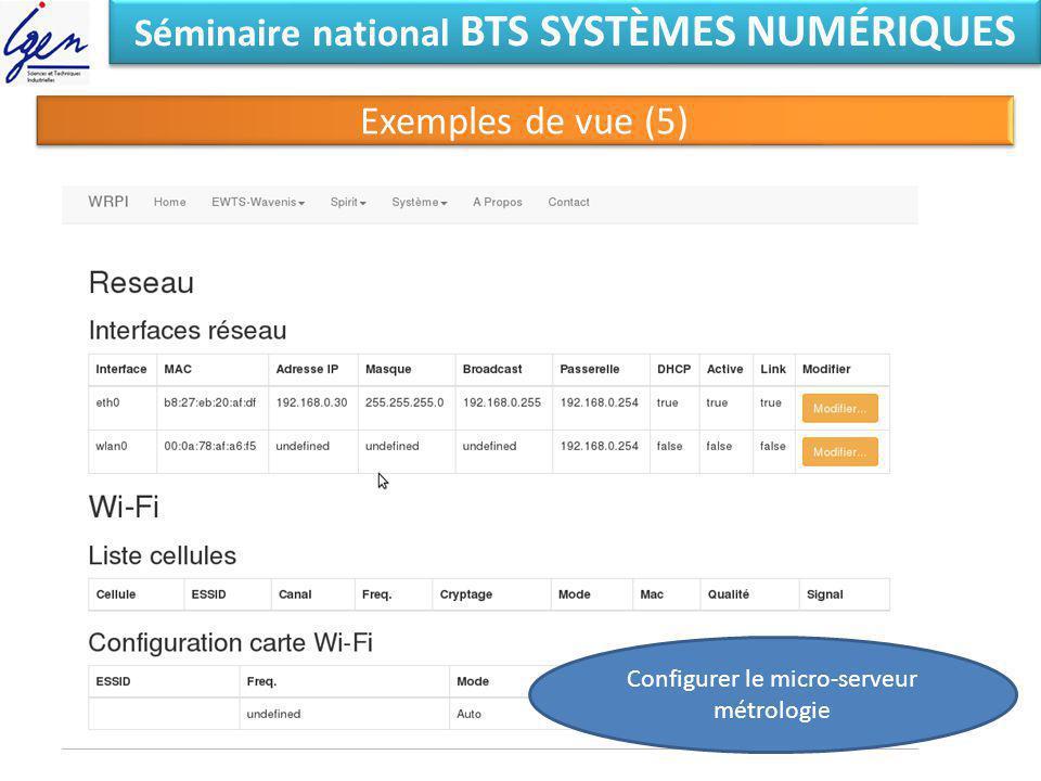 Séminaire national BTS SYSTÈMES NUMÉRIQUES Exemples de vue (5) Configurer le micro-serveur métrologie