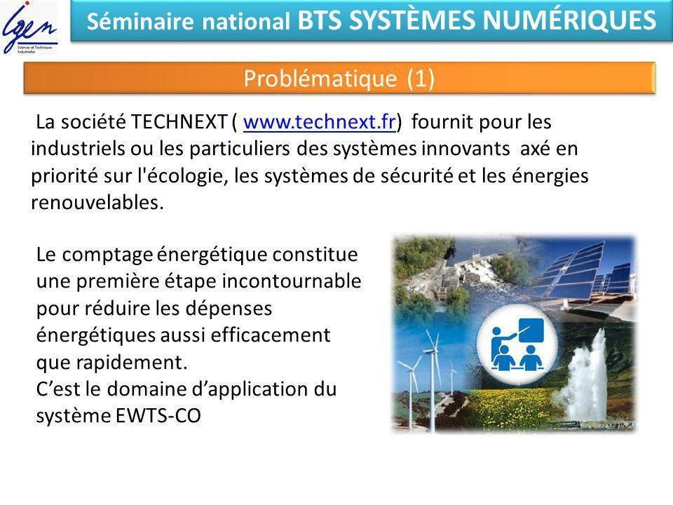 Séminaire national BTS SYSTÈMES NUMÉRIQUES Problématique (1) La société TECHNEXT ( www.technext.fr) fournit pour les industriels ou les particuliers d