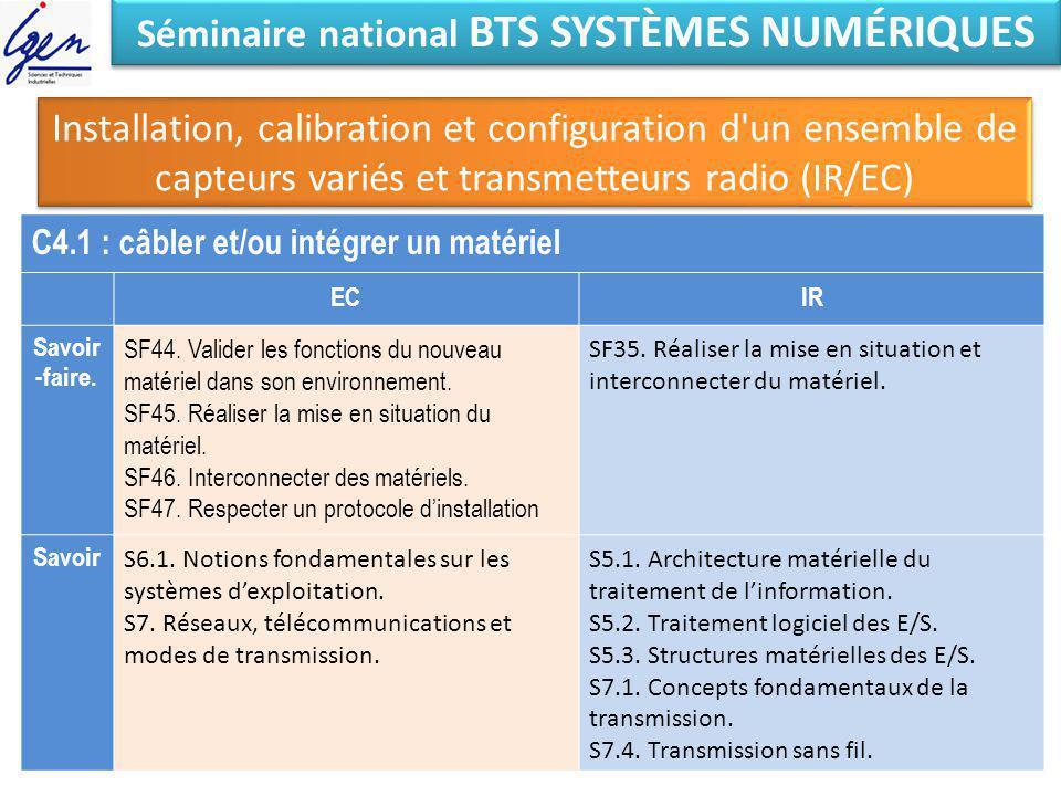 Séminaire national BTS SYSTÈMES NUMÉRIQUES Installation, calibration et configuration d'un ensemble de capteurs variés et transmetteurs radio (IR/EC)