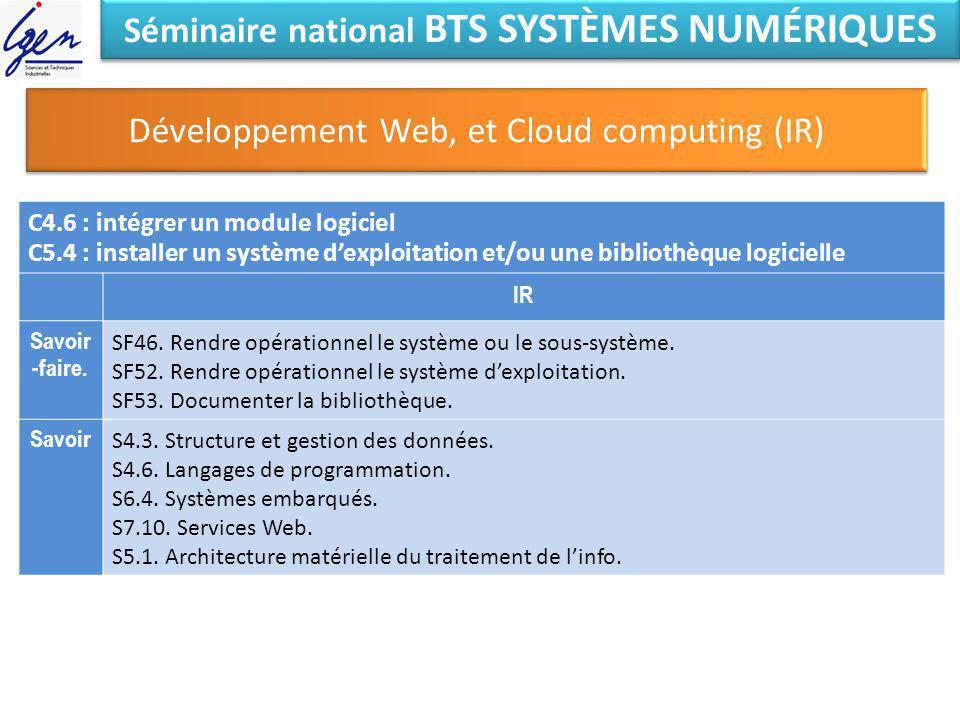 Séminaire national BTS SYSTÈMES NUMÉRIQUES Développement Web, et Cloud computing (IR) C4.6 : intégrer un module logiciel C5.4 : installer un système d