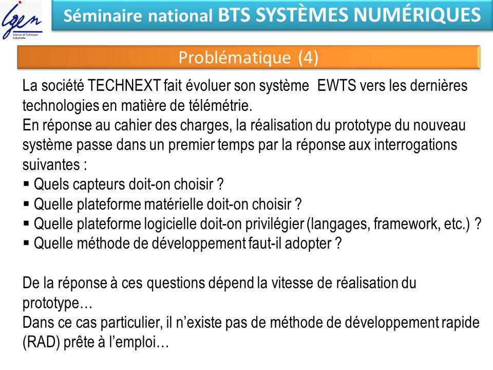 Séminaire national BTS SYSTÈMES NUMÉRIQUES Problématique (4) La société TECHNEXT fait évoluer son système EWTS vers les dernières technologies en mati
