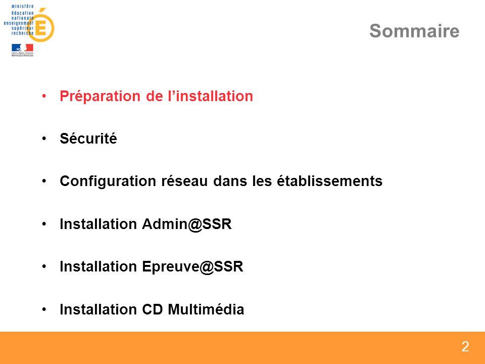 13 Sommaire Préparation de linstallation Sécurité Configuration réseau dans les établissements Installation Admin@SSR Installation Epreuve@SSR Installation CD Multimédia