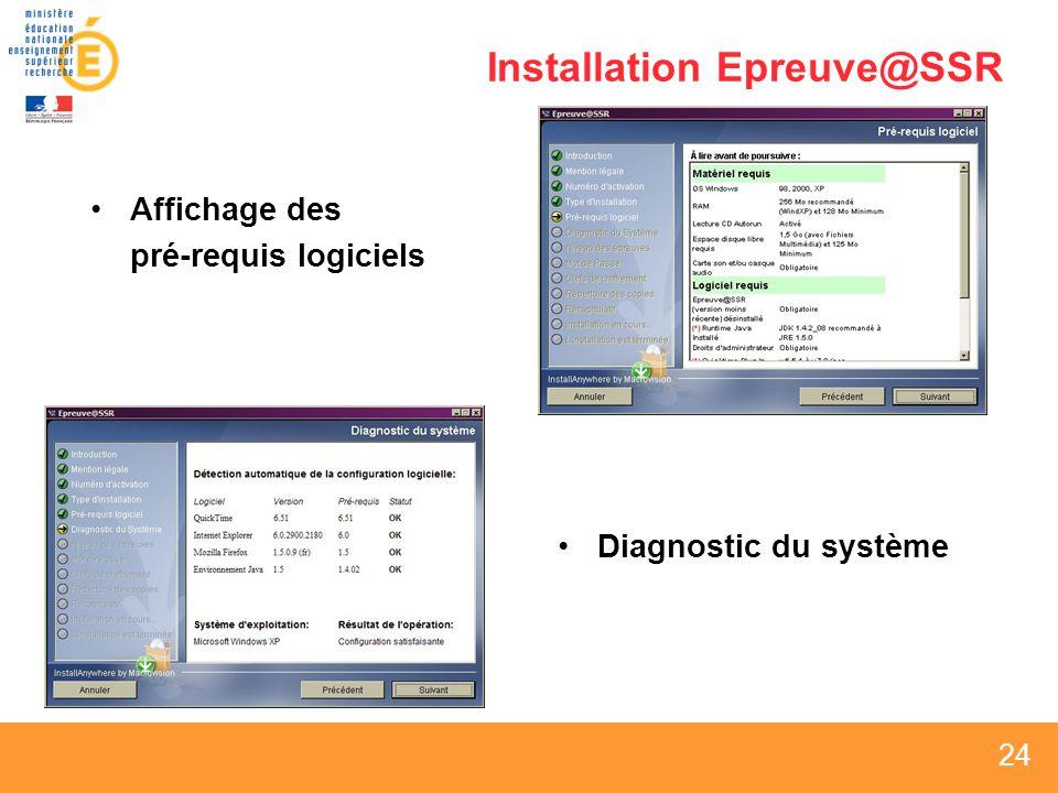 24 Installation Epreuve@SSR Affichage des pré-requis logiciels Diagnostic du système