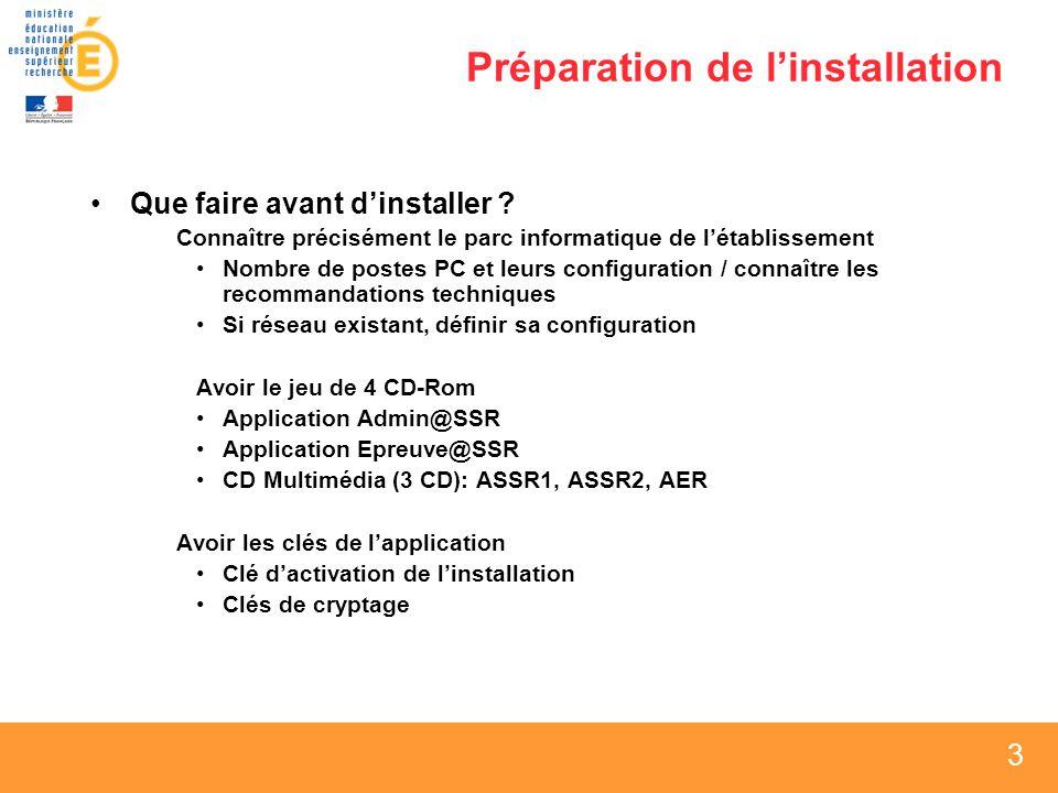 4 4 4 Sommaire Préparation de linstallation Sécurité Configuration réseau dans les établissements Installation Admin@SSR Installation Epreuve@SSR Installation CD Multimédia