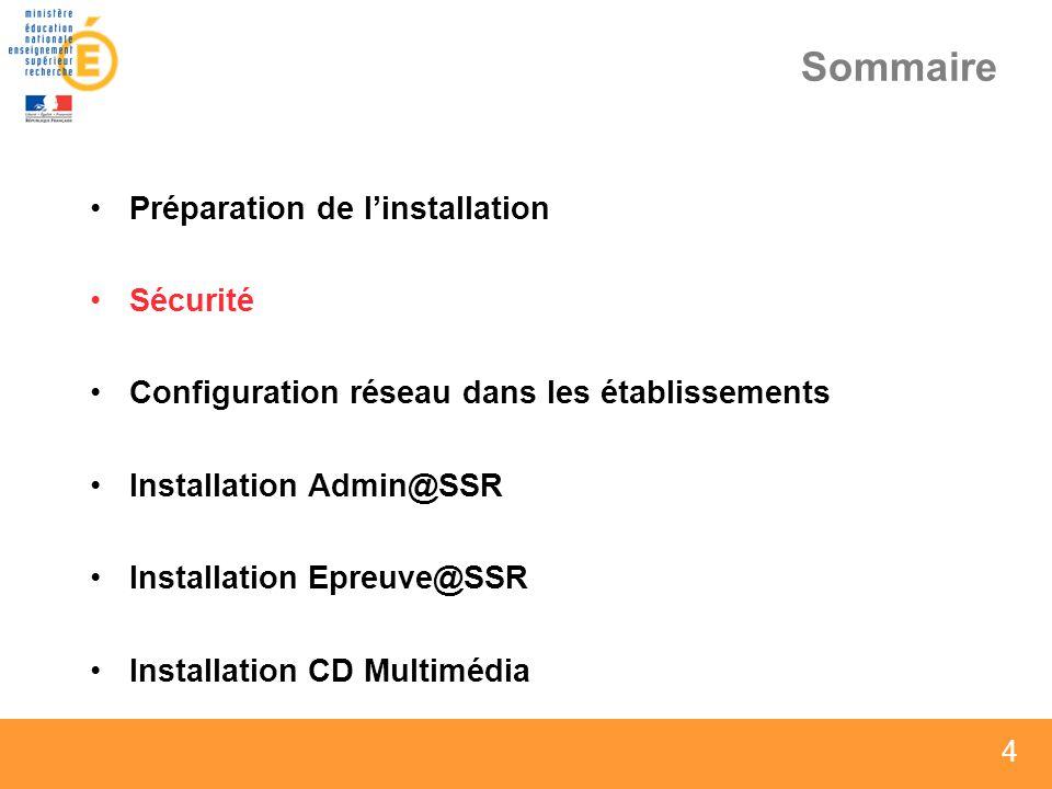 4 4 4 Sommaire Préparation de linstallation Sécurité Configuration réseau dans les établissements Installation Admin@SSR Installation Epreuve@SSR Inst