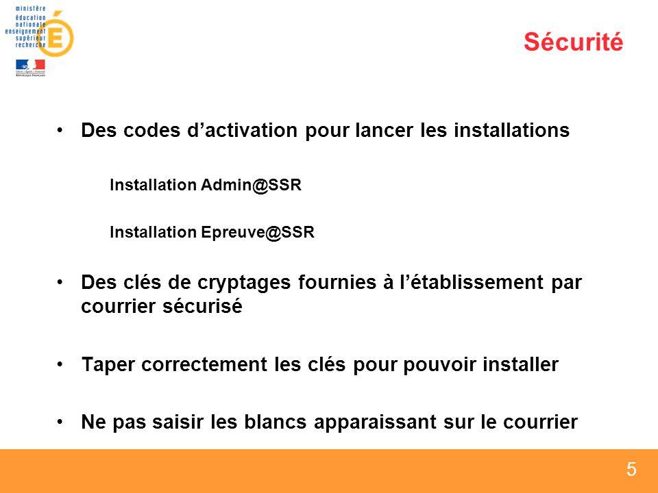 5 5 5 Sécurité Des codes dactivation pour lancer les installations Installation Admin@SSR Installation Epreuve@SSR Des clés de cryptages fournies à létablissement par courrier sécurisé Taper correctement les clés pour pouvoir installer Ne pas saisir les blancs apparaissant sur le courrier