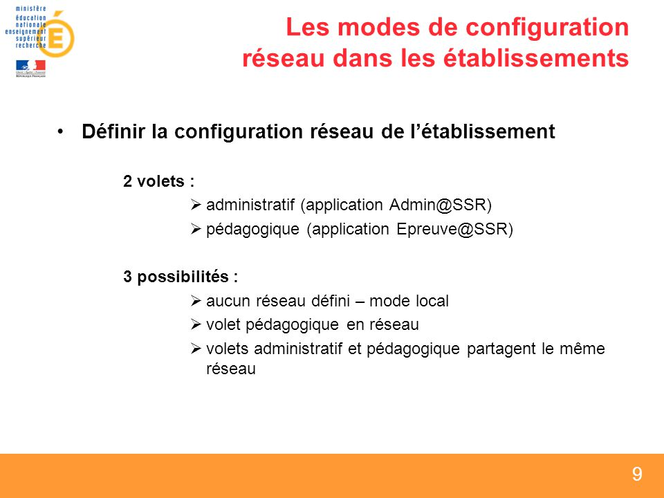 10 Les modes de configuration réseau dans les établissements Aucun réseau défini – mode local Admin@SSREpreuve@SSR (mode local)