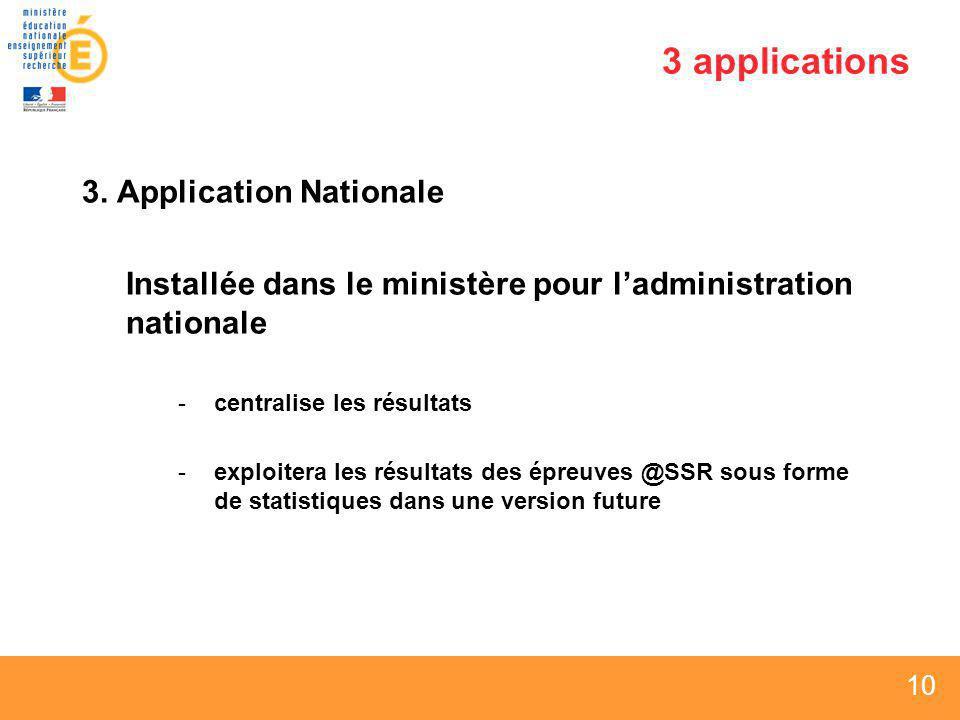 10 3 applications 3. Application Nationale Installée dans le ministère pour ladministration nationale -centralise les résultats -exploitera les résult