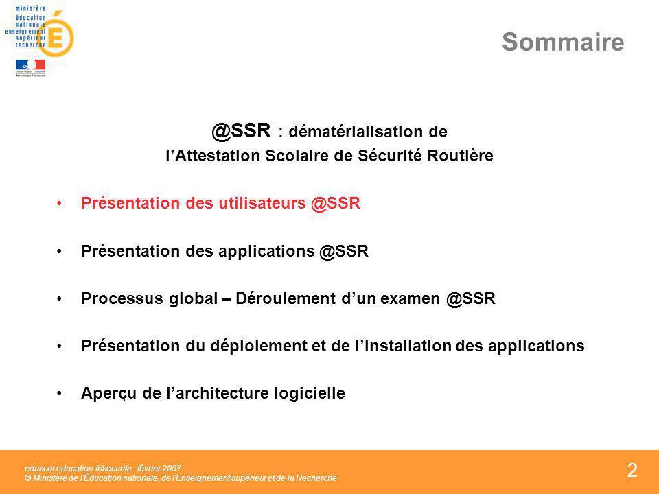 2 2 2 Sommaire @SSR : dématérialisation de lAttestation Scolaire de Sécurité Routière Présentation des utilisateurs @SSR Présentation des applications