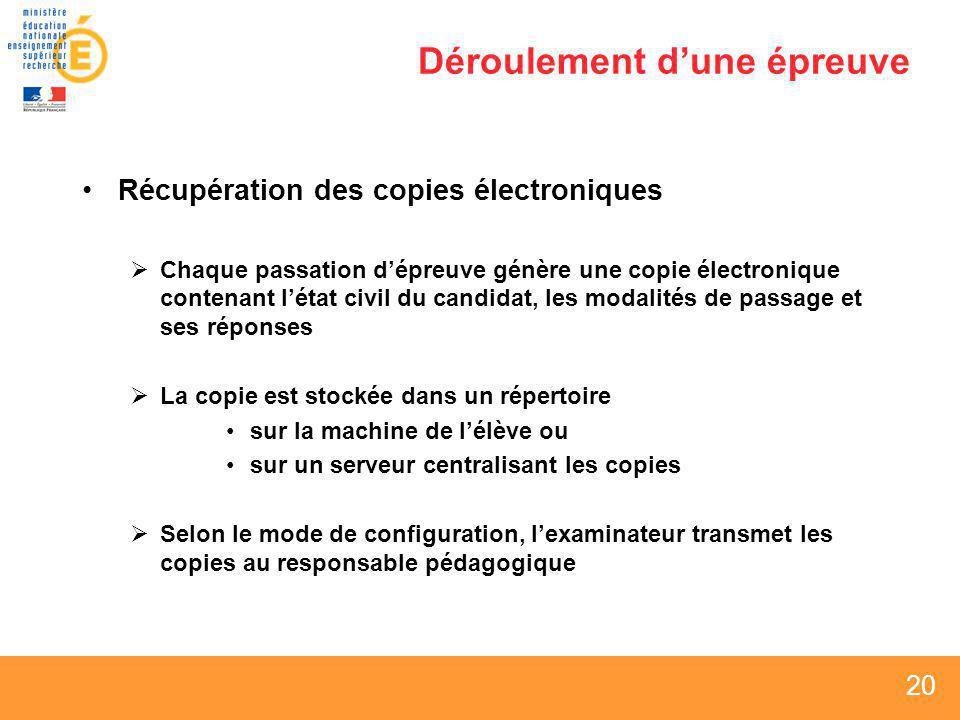 20 Déroulement dune épreuve Récupération des copies électroniques Chaque passation dépreuve génère une copie électronique contenant létat civil du can