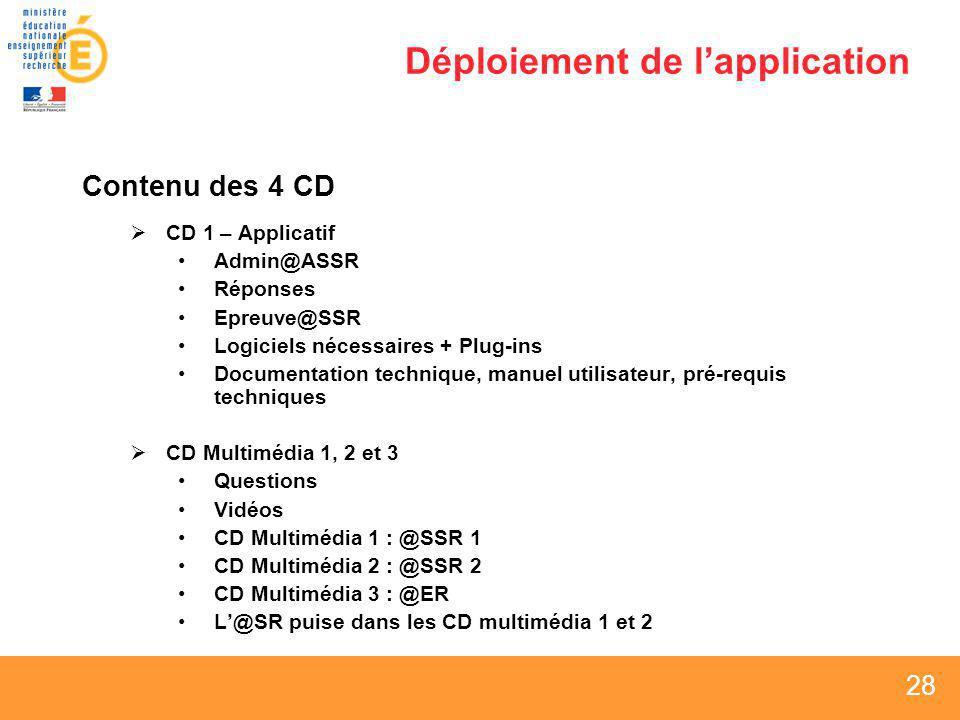 28 Déploiement de lapplication Contenu des 4 CD CD 1 – Applicatif Admin@ASSR Réponses Epreuve@SSR Logiciels nécessaires + Plug-ins Documentation techn
