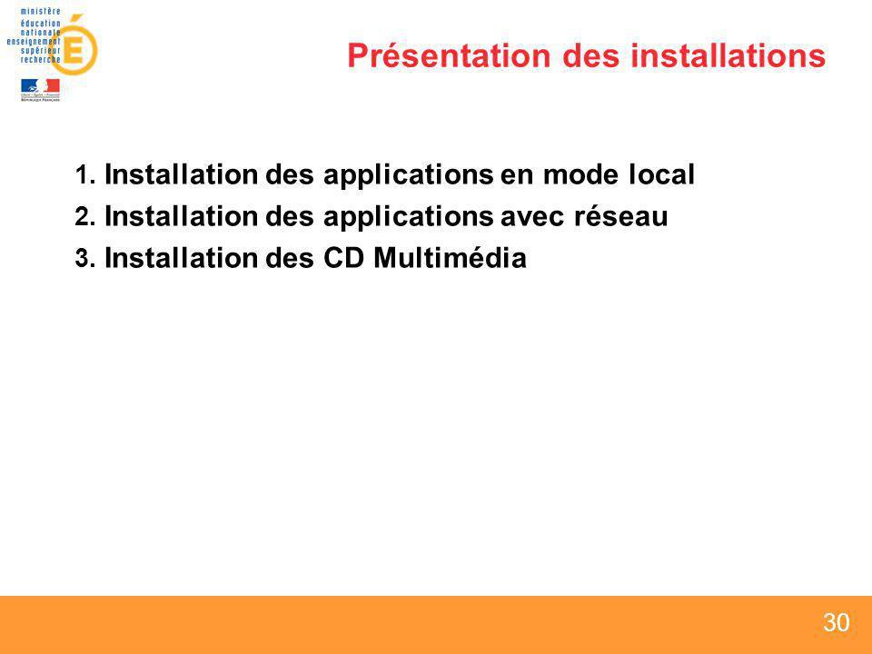 30 Présentation des installations 1. Installation des applications en mode local 2. Installation des applications avec réseau 3. Installation des CD M