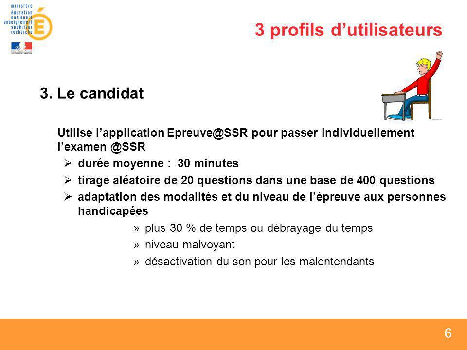 6 6 6 3 profils dutilisateurs 3. Le candidat Utilise lapplication Epreuve@SSR pour passer individuellement lexamen @SSR durée moyenne : 30 minutes tir