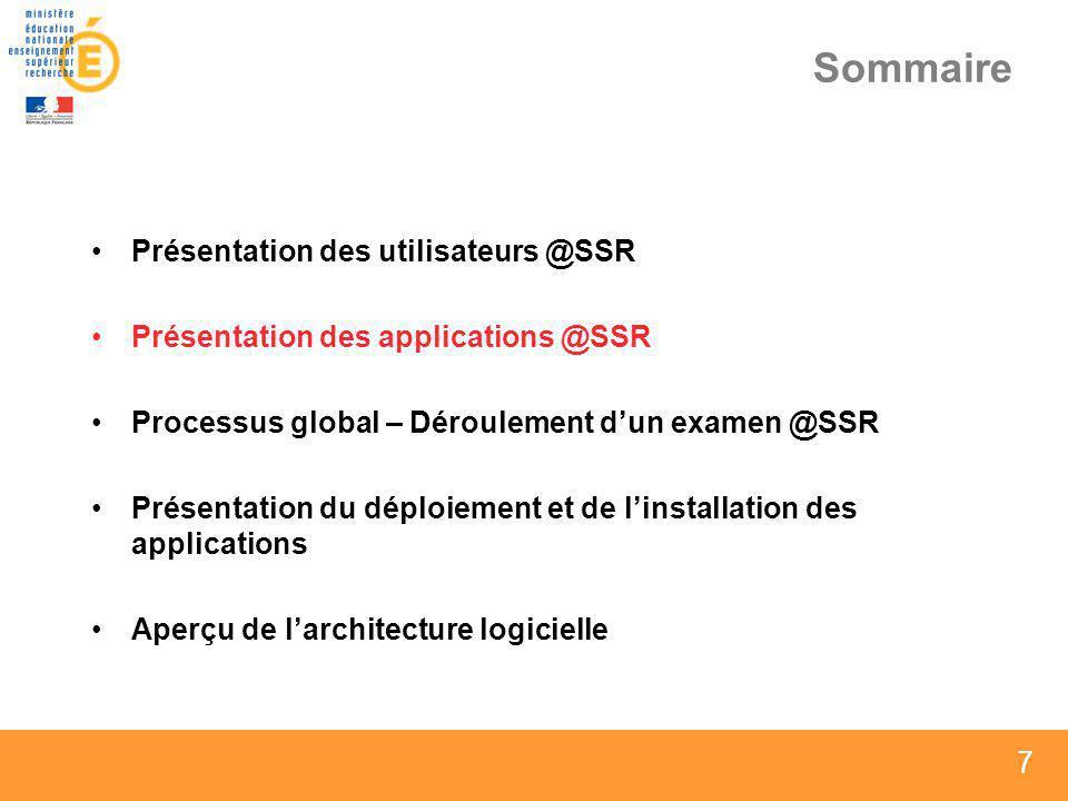 7 7 7 Sommaire Présentation des utilisateurs @SSR Présentation des applications @SSR Processus global – Déroulement dun examen @SSR Présentation du dé